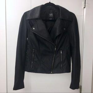 ARMANI EXCHANGE Faux Snake Leather Biker Jacket